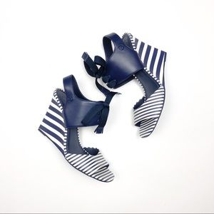 Tory Burch Maritime Nautical Stripes Wedge Sandal